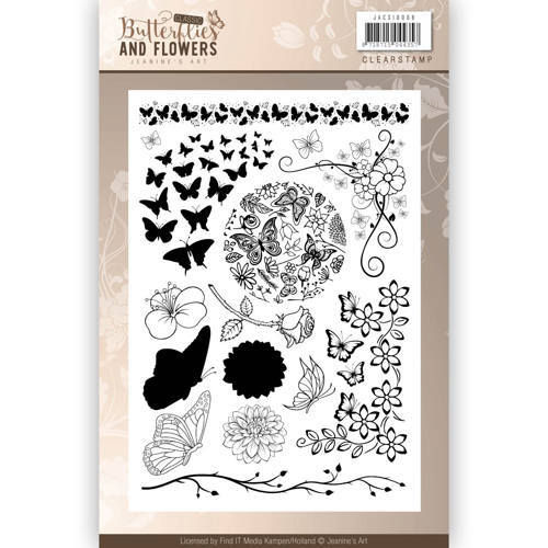 Jeanines Art Clear Stamps Butterflies & Flowers
